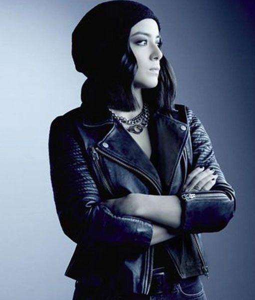 chloe-bennet-blue-leather-jacket