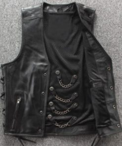mens-chain-biker-leather-vest