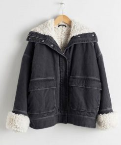 holidate-emma-roberts-denim-shearling-jacket