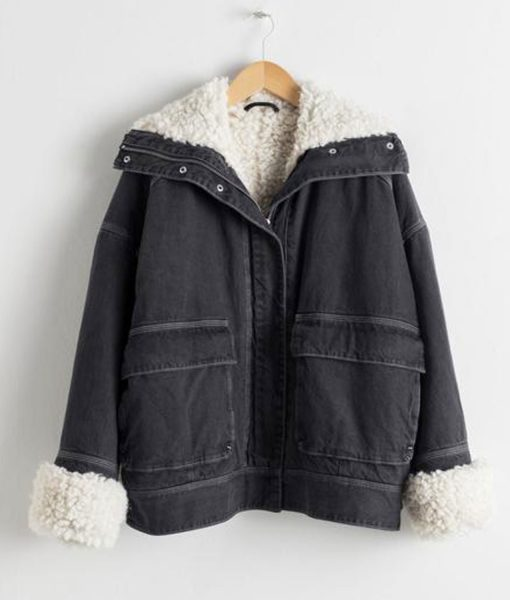 holidate-emma-roberts-denim-shearling-jacket