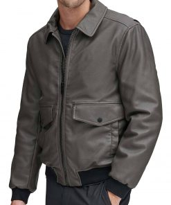 mens-grey-leather-bomber-jacket