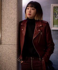 itaewon-class-kim-da-mi-burgundy-leather-jacket