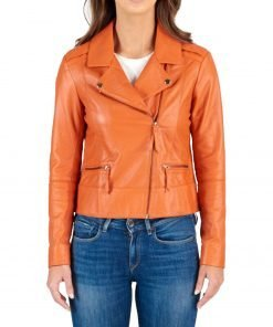 womens-orange-biker-jacket