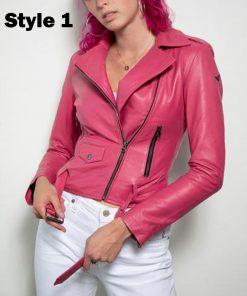 barbie-pink-leather-jacket