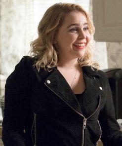good-girls-mae-whitman-black-suede-jacket