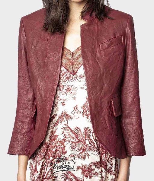 angela-bassett-maroon-leather-blazer