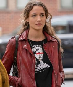 sarah-cooper-red-leather-jacket